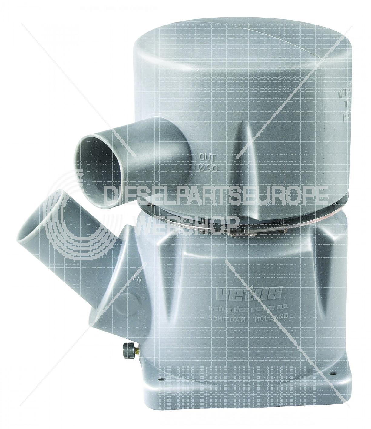Waterlock, kunststof type MGP, inlaat 102 mm-45 graden, uitl
