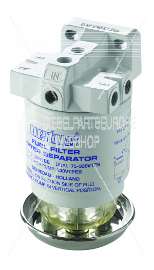 Brandstoffilter/waterafscheider CE/ABYC enkel 10 micron, tot